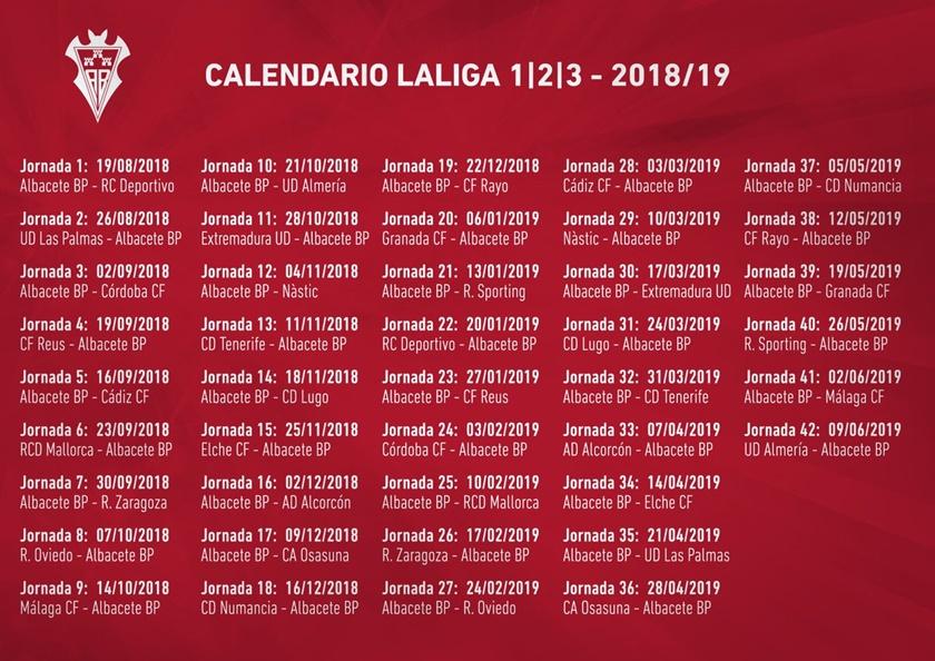 As Calendario Liga 123.Calendario Liga 123 Albacete Balompie El Digital De Albacete