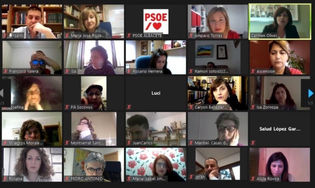 imagen durante el taller virtual de la escuela de pensamiento feminista del psoe de albacete